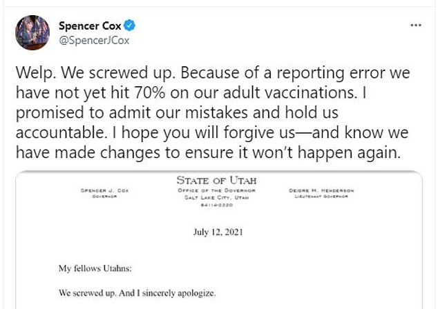 Utah governor apologizes after data error showed state hitting 70% goal before benchmark was met